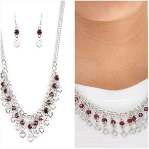 VALENTINE'S DAY DRAMA RED NECKLACE/EARRING SET